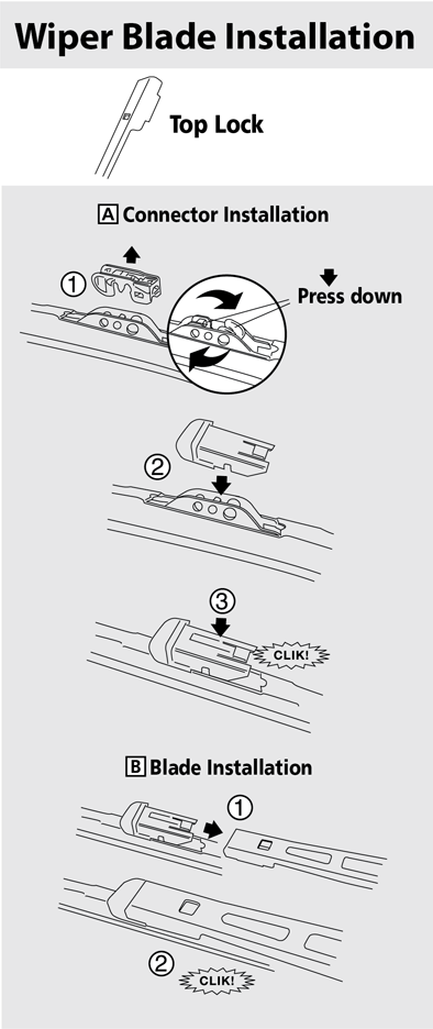 Instructions To Install Top Lock Arm Style Wiper Blade